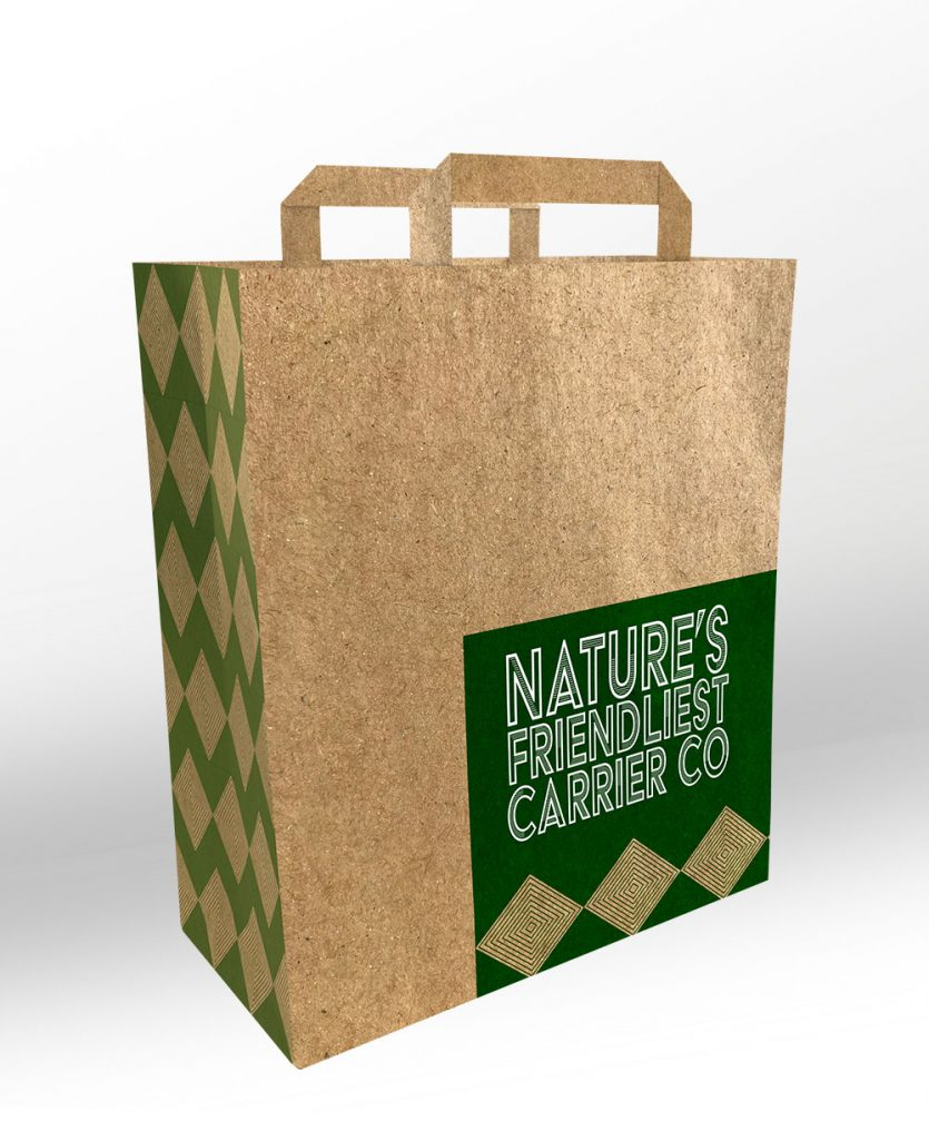 Natures friendliest unbleached kraft paper bag