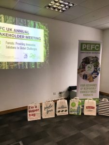 PEFC paper bags by stand